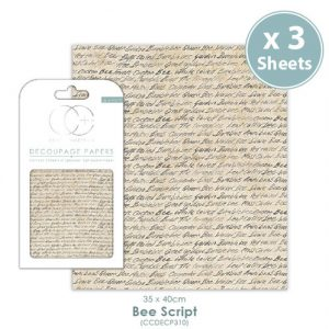 Craft Consortium Bee Script Decoupage Papers CCDECP310
