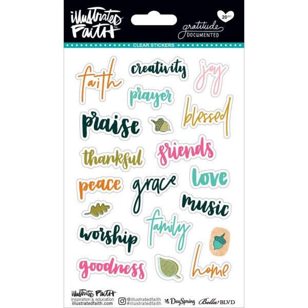 Illustrated Faith Gratitude Documented Clear Stickers IGD1777