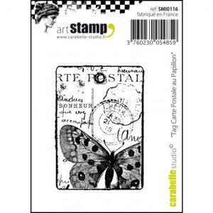 Carabelle stamp tag carte postale au papillon SMI0116