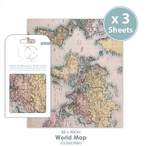 Craft Consortium World Map Decoupage Papers CCDECP081
