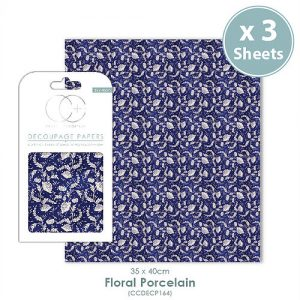 Craft Consortium Floral Porcelain 2 Decoupage Papers CCDECP164
