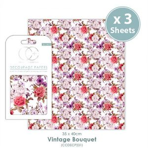 Craft Consortium Vintage Bouquet Decoupage Papers CCDECP231