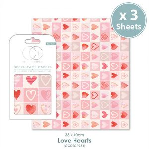 Craft Consortium Love Hearts Decoupage Papers CCDECP254