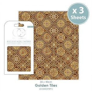 Craft Consortium Golden Tiles Decoupage Papers CCDECP291