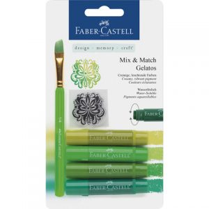 Faber-Castell Mix & Match Gelatos & Clear Stamp Set Green FC-121804