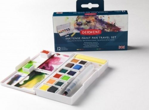 Derwent Inktense Paint Pan Travel Set -12 kleuren , waterbrush en sponsje