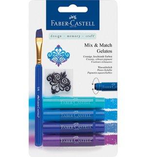 Faber-Castell Mix & Match Gelatos & Clear Stamp Set Blue FC-121803