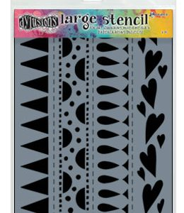 Dylusions Stencil Heart Border Large - DYS47162 van Dyan Reavey ideaal voor art journaling en bible journalling