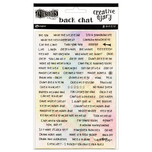 dylusions creative dyary stickers back chat DYE58564
