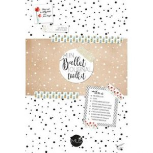 bullet journal toolkit met potlood gum fineliners markeerstift sjablonen washi tape sticky notes en instructieboekje