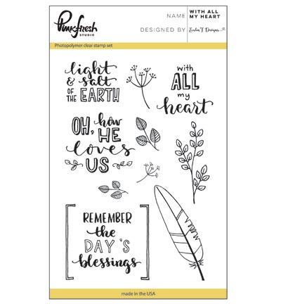 Pinkfresh Stempelset With All My Heart PFCS1517 ideaal voor bible journaling en kaarten maken